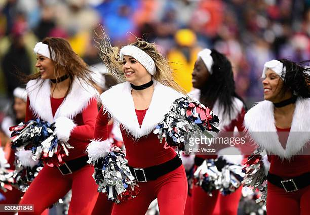The New England Patriots cheerleaders dance during a game against the New York Jets at Gillette Stadium on December 24 2016 in Foxboro Massachusetts