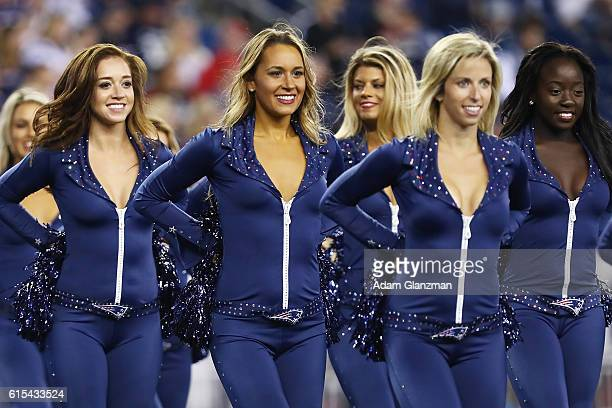 The New England Patriots cheerleaders perform during the game against the Houston Texans at Gillette Stadium on September 22 2016 in Foxboro...