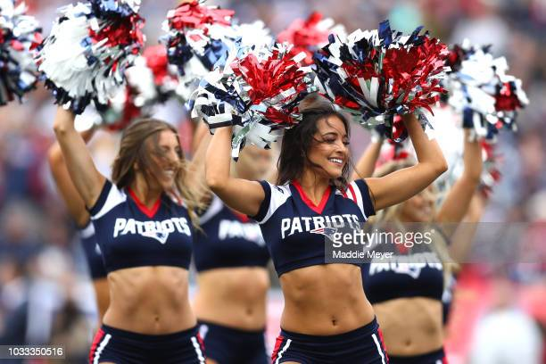 The New England Patriots cheerleaders perform during the game between the New England Patriots and the Houston Texans at Gillette Stadium on...