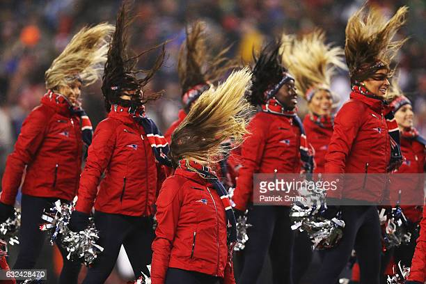 The New England Patriots cheerleaders perform during the second quarter in the AFC Championship Game against the Pittsburgh Steelers at Gillette...