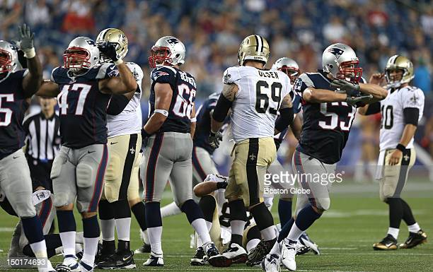 The New England Patriots defense signal no good as the field goal attempt by New Orleans Saints quarterback Chase Daniel missed during the second...