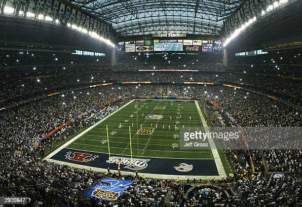 The New England Patriots kickoff to the Carolina Panthers to start Super Bowl XXXVIII at Reliant Stadium on February 1 2004 in Houston Texas