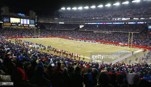 The New England Patriots kickoff to the Tennessee Titans to start the game during the AFC divisional playoffs on January 10 2004 at Gillette Stadium...