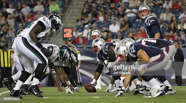 The New England Patriots line up against the Philadelphia Eagles during a preseason game against the New England Patriots at Gillette Stadium on...