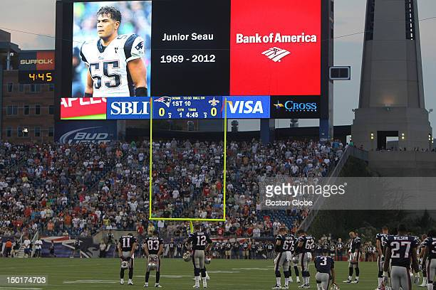 The New England Patriots observed a moment of silence for former teammate Junior Seau at the beginning of a preseason exhibition game against the New...