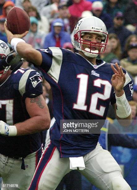 The New England Patriots' quarterback Tom Brady passes against the San Diego Chargers in the forth quarter 14 October 2001 in Foxboro Stadium in...