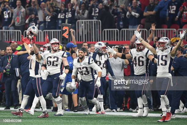 The New England Patriots react after defeating the Los Angeles Rams 133 during Super Bowl LIII at MercedesBenz Stadium on February 3 2019 in Atlanta...