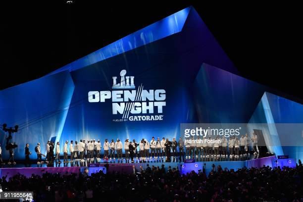 The New England Patriots stand at the stage during Super Bowl LII Media Day at Xcel Energy Center on January 29 2018 in St Paul Minnesota Super Bowl...