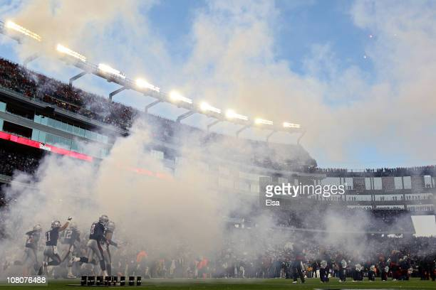 The New England Patriots take the field for their 2011 AFC divisional playoff game against the New York Jets at Gillette Stadium on January 16 2011...