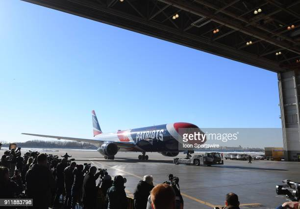 The New England Patriots team plane arrives for Super Bowl LII on January 29 2018 at the MinneapolisSt Paul International Airport in Minneapolis MN