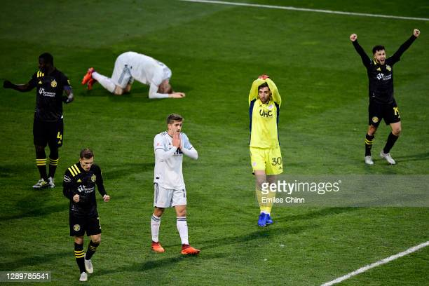 The New England Revolution and Columbus Crew react to the Columbus Crew's 1-0 win during the Eastern Conference Final of the MLS Cup Playoffs at...