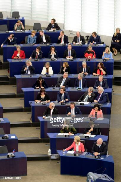 The new European Union Commission attend a session of the European Parlaiment on November 27 2019 in Strasbourg France The EU Commission was...