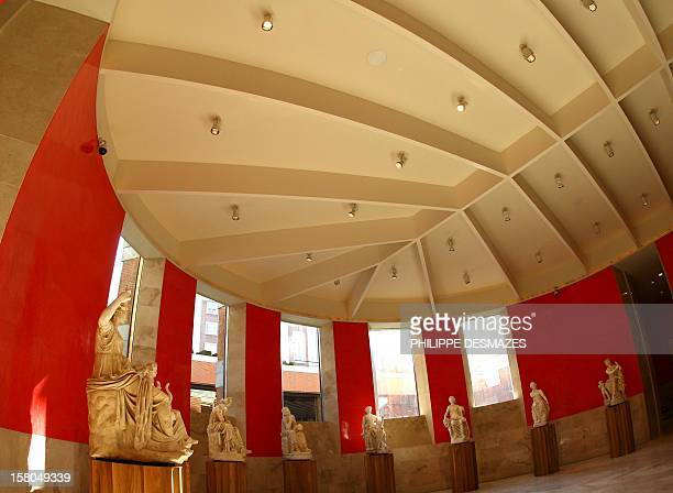 The new extension to Madrid's Prado museum the red stuccoed vestibule is open to the press prior to its inauguration next week by the Spanish Royal...