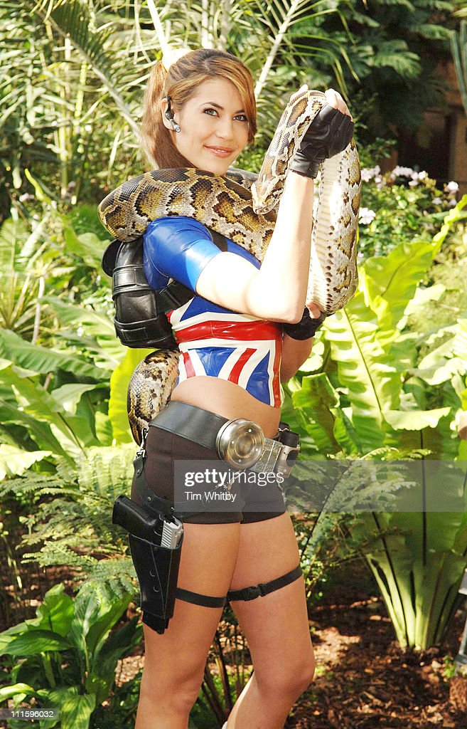 "Karima Adebibe as Lara Croft Promotes Tomb Raider Game ""Legend"" - April 6, 2006 : News Photo"