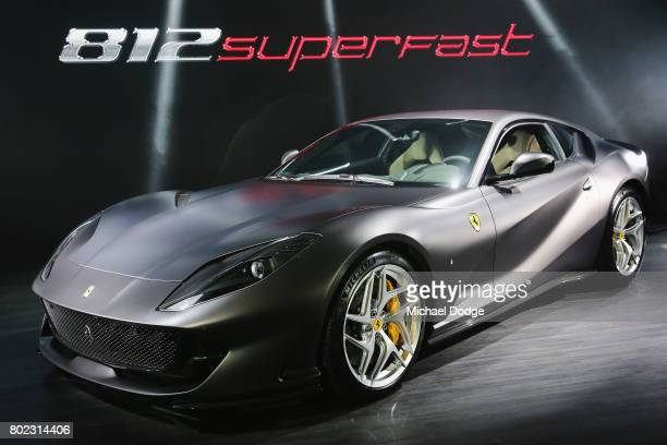 The new Ferrari 812 Superfast is seen at its Australasian Premiere on June 28 2017 in Melbourne Australia The 812 Superfast is the most powerful and...