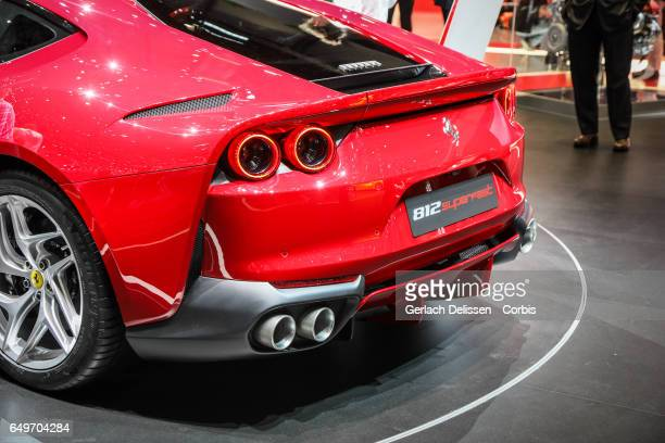 The new Ferrari 812 Superfast on display during the second press day of the Geneva Motor Show 2017 at the Geneva Palexpo on March 8 2017 in Geneva...