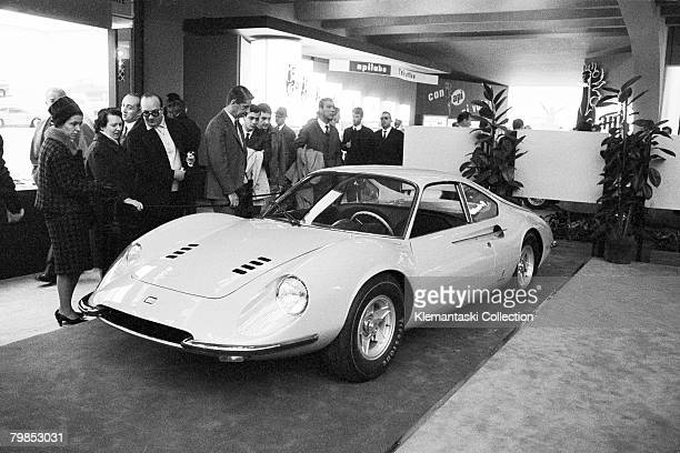 The new Ferrari Dino 206GT at the Turin Auto Show, Turin, October 1966.