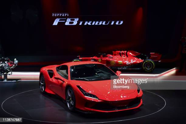 The new Ferrari NV F8 Tributo sits on display on the opening day of the 89th Geneva International Motor Show in Geneva Switzerland on Tuesday March 5...