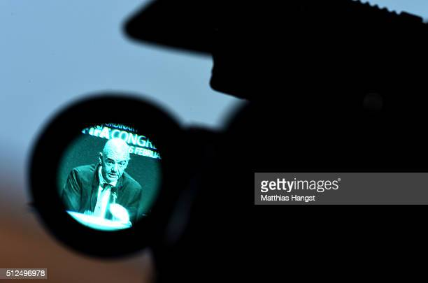 The new FIFA President Gianni Infantino is seen through a TV camera during a press conference after the Extraordinary FIFA Congress at Hallenstadion...
