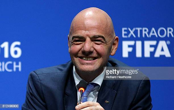 The new FIFA President Gianni Infantino smiles during a press conference after the Extraordinary FIFA Congress at Hallenstadion on February 26 2016...