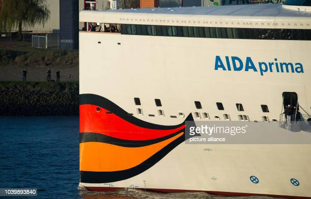 The new flagship 'Aidaprima' of shipping company Aida Cruises arrives at the port of Hamburg Germany 21 April 2016 The ship that can accomodate up to...