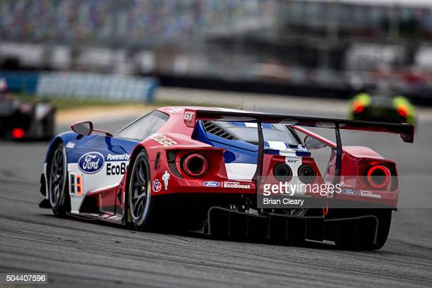 The new Ford GT drives on the track during the Roar Before the 24 IMSA WeatherTech Series testing at Daytona International Speedway on January 10...