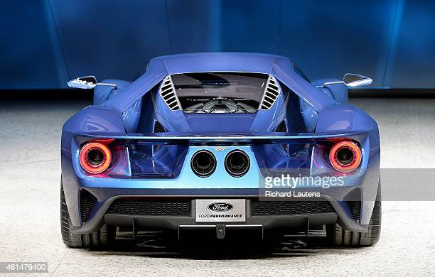 The new Ford GT from behind. The North American International Auto Show opened to the media at Cobo Hall in Detroit. Around 40 new models were...