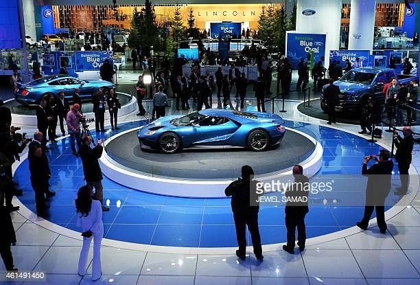 The new Ford GT is displayed during the press preview of the 2015 North American International Auto Show in Detroit, Michigan, January 13, 2015. Some...