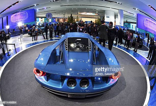 The new Ford GT is pictured at The North American International Auto Show in Detroit Michigan on January 12 2015 Ford attempted to land a knockout...