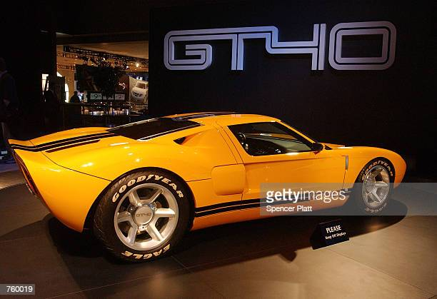 The new Ford GT40 is displayed March 28 2002 at the 2002 New York International Auto Show at the Jacob Javits Center in New York City