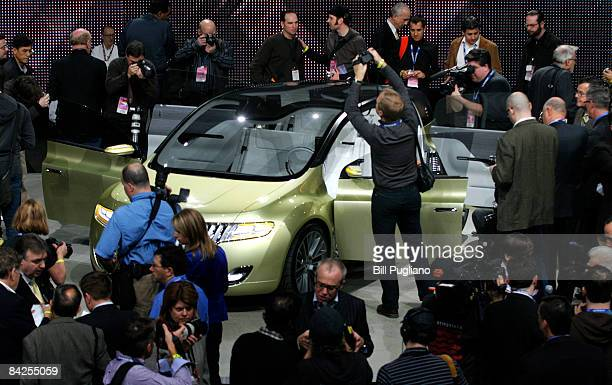The new Ford Lincoln C Concept vehicle is introduced to the media during the press preview for the Detroit International Auto Show at the Cobo Center...