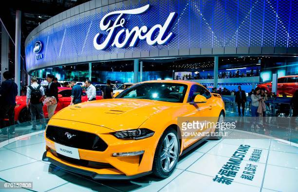 The new Ford Mustang is displayed during the first day of the 17th Shanghai International Automobile Industry Exhibition in Shanghai on April 19 2017...