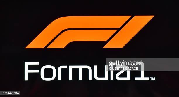 The new Formula One logo is seen during the Abu Dhabi Formula One Grand Prix at the Yas Marina circuit on November 26 2017 / AFP PHOTO / GIUSEPPE...