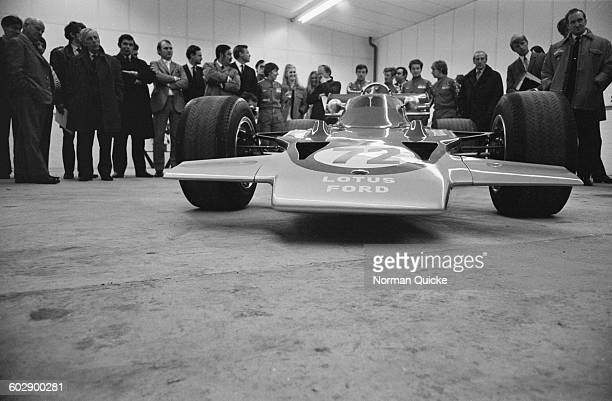 The new Formula One racing car the Lotus 72 designed by Colin Chapman and Maurice Philippe of Lotus UK 6th April 1970