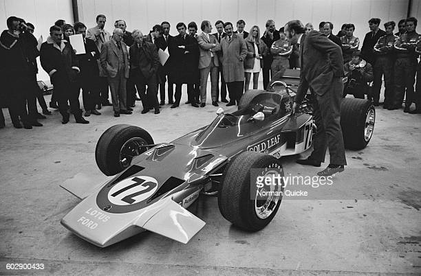 The new Formula One racing car, the Lotus 72, designed by Colin Chapman and Maurice Philippe of Lotus, UK, 6th April 1970.