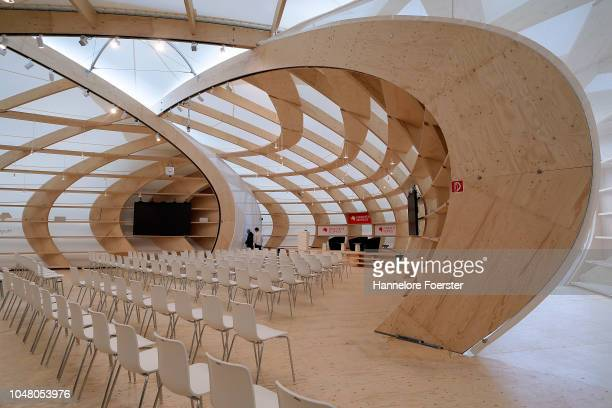 The new Frankfurt Book Fair pavillion, on October 9, 2018 in Frankfurt, Germany. Approximately 7,100 exhibitors are due to present works at the fair...