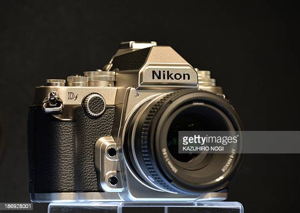 """The new FX-format digital SLR camera """"Df"""" from Japanese camera maker Nikon is displayed at a press preview in Tokyo on November 5, 2013. Nikon will..."""