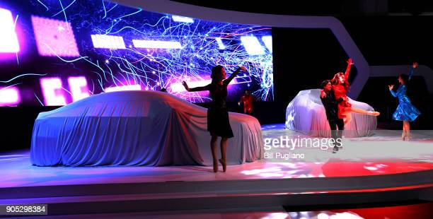The new GAC Motor Enverge concept an electric compact crossover vehicle makes its debut at the 2018 North American International Auto Show January 15...