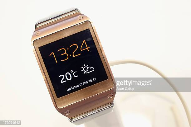 The new Galaxy Gear smartwatch stands on display at the Samsung stand at the IFA 2013 consumer electronics trade fair on September 5 2013 in Berlin...