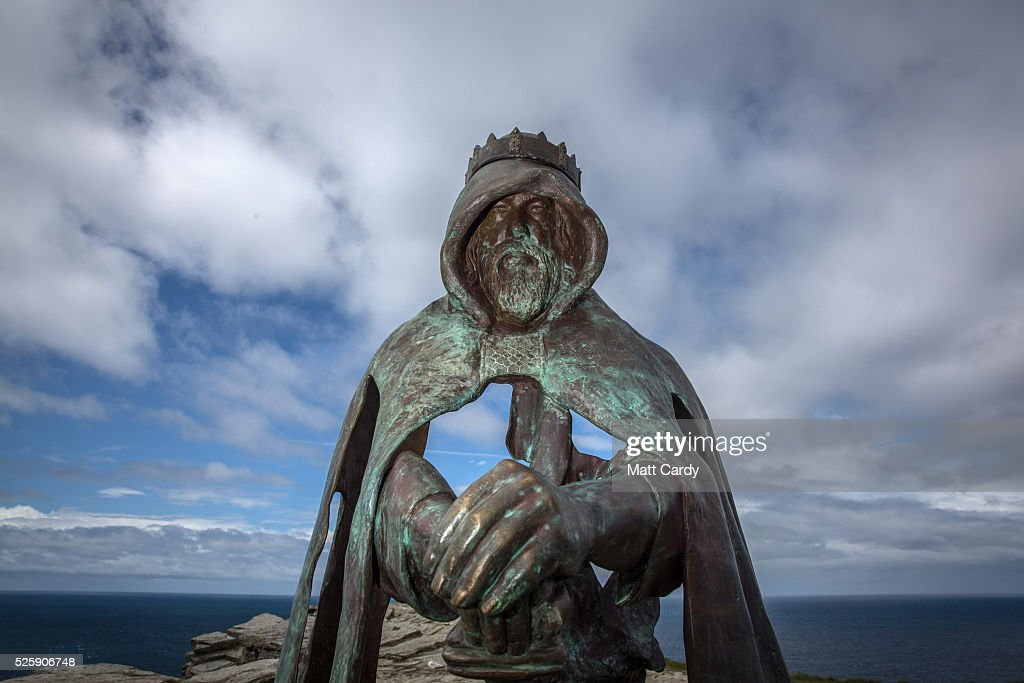 New Sculpture Revealed On The Historic Site At Tintagel : News Photo