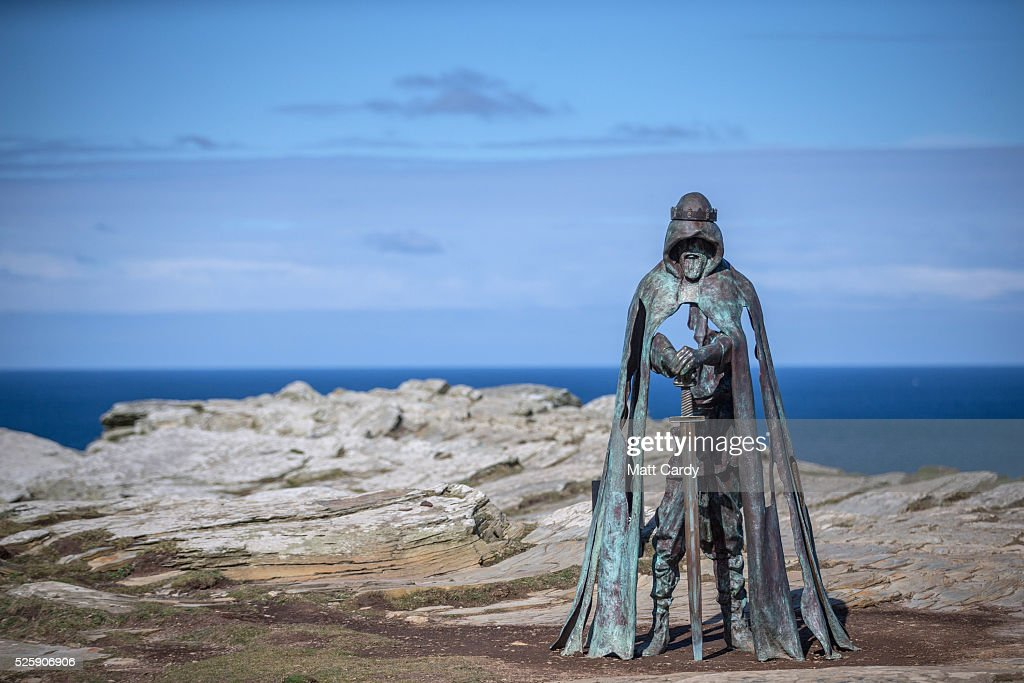 The new 'Gallos' sculpture that has been erected at Tintagel Castle is seen in Tintagel on April 28, 2016 in Cornwall, England. The English Heritage managed site and the nearby town have long been associated with the legend of King Arthur and continue to attract large visitor numbers. However, efforts by English Heritage to update the visitor experience with the Gallos sculpture, along with a rock carving of Merlin's face, which English Heritage say are inspired by the legend of King Arthur and Tintagel Castles royal past, have met with criticism from some Cornish nationalists and historians.