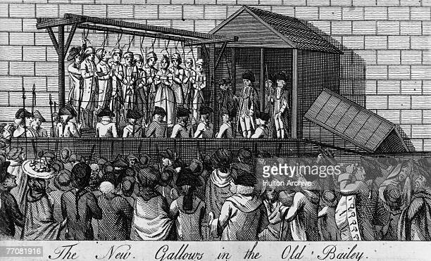 The new gallows at the Old Bailey for executions en masse circa 1780