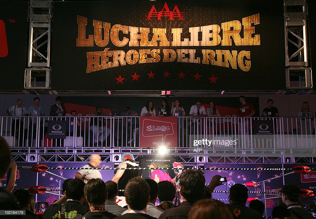 The new game 'Lucha Libre' by console video game publisher Slang is presented at the 2010 E3 Expo in Los Angeles, on June 16, 2010. Typically a stage for new blockbuster titles, the Electronic Entertainment Expo (E3) this year will also be an arena where Sony, Microsoft and Nintendo duel with motion-sensing controls for rival PlayStation 3, Xbox 360, and Wii consoles.