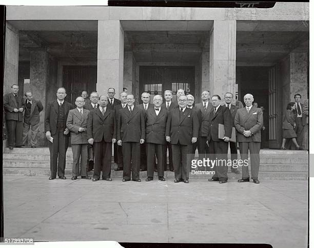 The new German East Zone cabinet named by Prime Minister Otto Grotewohl October 12 stands in front of the House of the German Economic Commission on...