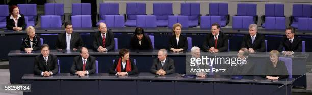 The new German government is seen in the parliament on November 22, 2005 in Berlin, Germany. A so-called grand coalition of Christian Democrats and...