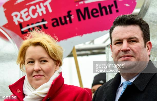 The new German Labour Minister Hubertus Heil and German Family Minister Franziska Giffey attend a demonstration for the socalled Equal Pay Day in...