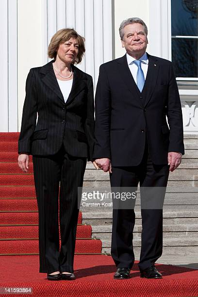 The new German president Joachim Gauck and his partner Daniela Schadt pose upon their arrival for the inauguration at the Bellevue presidential...