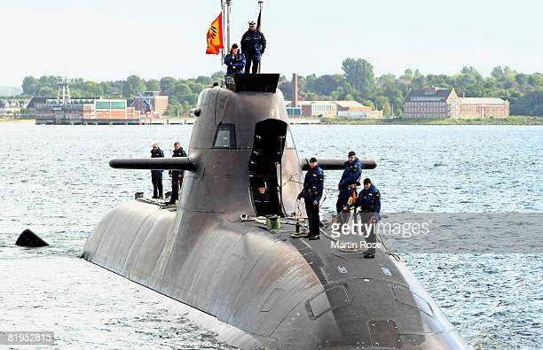The new German submarine U33 is seen at the naval base on July 16 2008 in Eckernfoerde near Kiel at the Baltic sea Germany