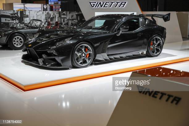 The new Ginetta Cars Ltd Akula supercar sits on display on the opening day of the 89th Geneva International Motor Show in Geneva Switzerland on...