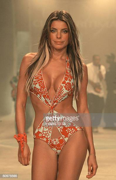 The new girlfriend of striker Ronaldo Brazilian model Daniela Cicarelli presents a creation for Cia Maritima as part of the Summer 2005 Sao Paulo...